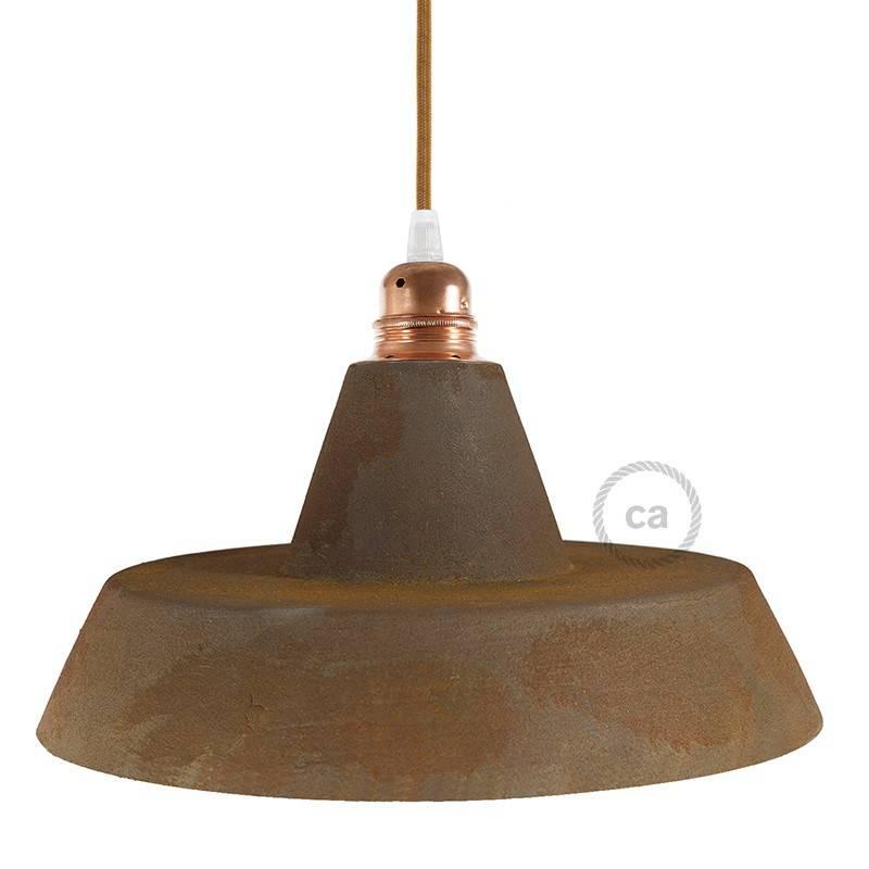 Materia Keramische Grote Kop Lampenkap Gestreept Terracotta Met