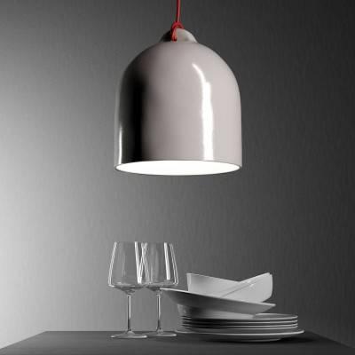 Materia keramische vaas lampenkap, gestreept terracotta met witte gepolijste binnenkant, gemaakt in Italië