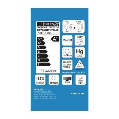 LED lichtbron XXL transparant met dubbel lange filament A165 11W E27 dimbaar 2700K