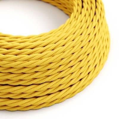 Gevlochten flexibele electriciteit textielkabel van viscose. TM10 - geel