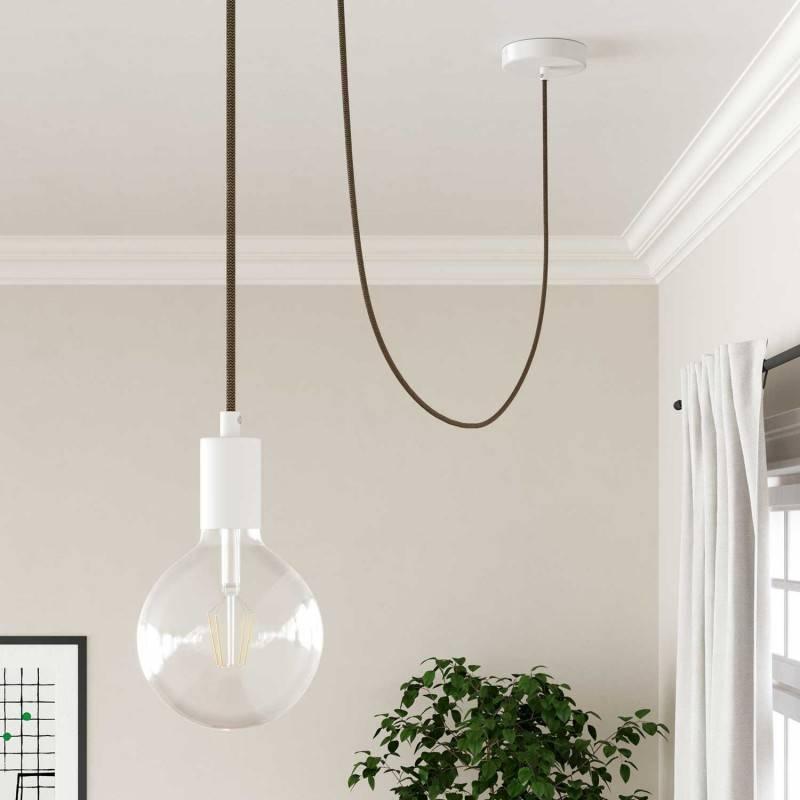 Bistrot lampenkap - E27 metaal 38 cm diameter, groen gepolijst met wit gepolijst binnenwerk