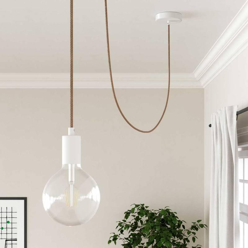 Pinocchio wit, flexibel instelbare houten muurbevestiging voor hanglampen.