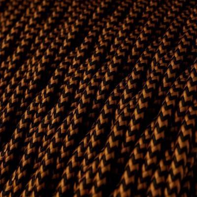 Houten verlichtingspendel XL electriciteits touwkabel in 16 mm. van zwart textiel