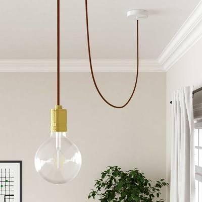 Houten verlichtingspendel 2XL electriciteits touwkabel in 24 mm. van bordeauxrood textiel
