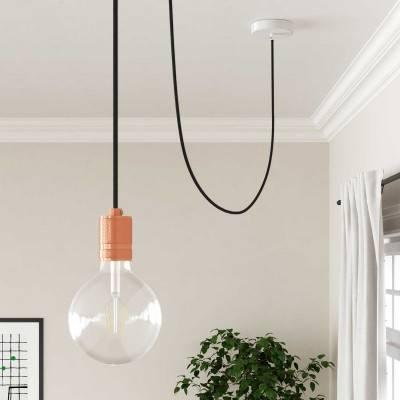 Houten verlichtingspendel 2XL electriciteits touwkabel in 24 mm. van katoen en natuurlijk linnen