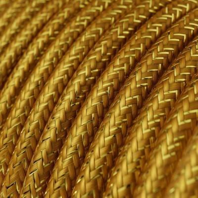Houten verlichtingspendel 2XL electriciteits touwkabel in 24 mm. van donkergroen textiel