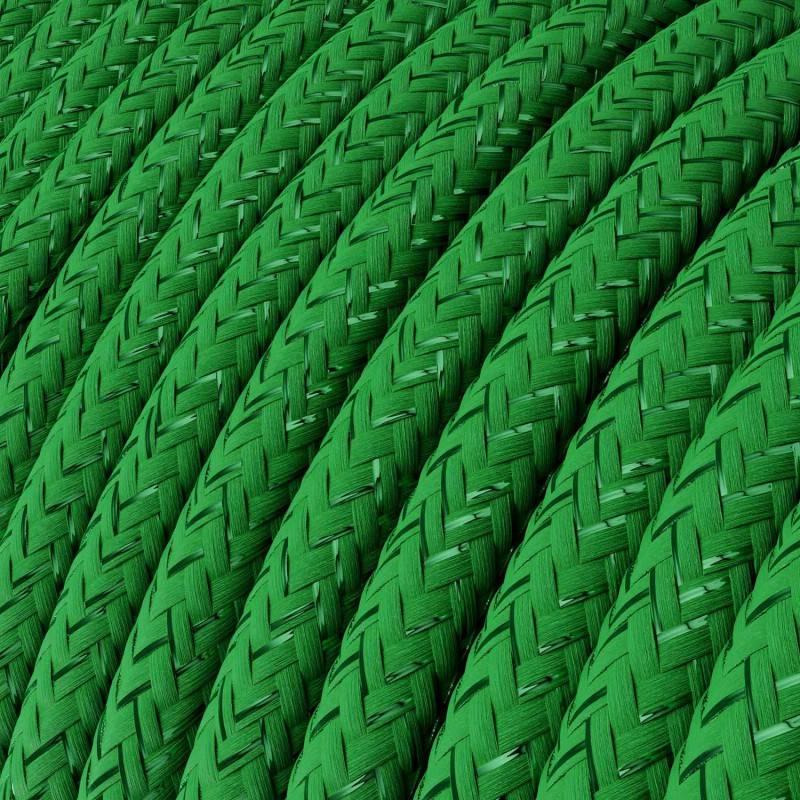 Ronde flexibele glinsterende electriciteit textielkabel van viscose. RL06 - groen