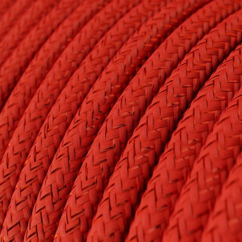 Houten verlichtingspendel 3XL electriciteits touwkabel in 30 mm. van bordeauxrood textiel
