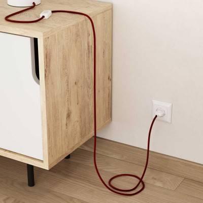 Houten verlichtingspendel 3XL electriciteits touwkabel in 30 mm. van zwart textiel