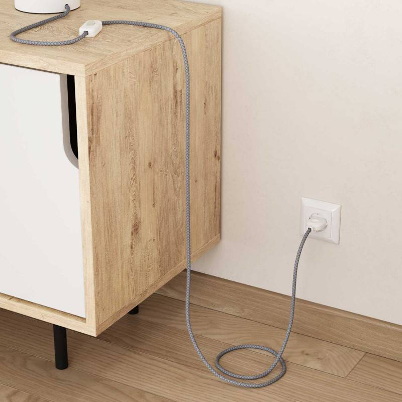 Houten verlichtingspendel 3XL electriciteits touwkabel in 30 mm. van donkergroen textiel