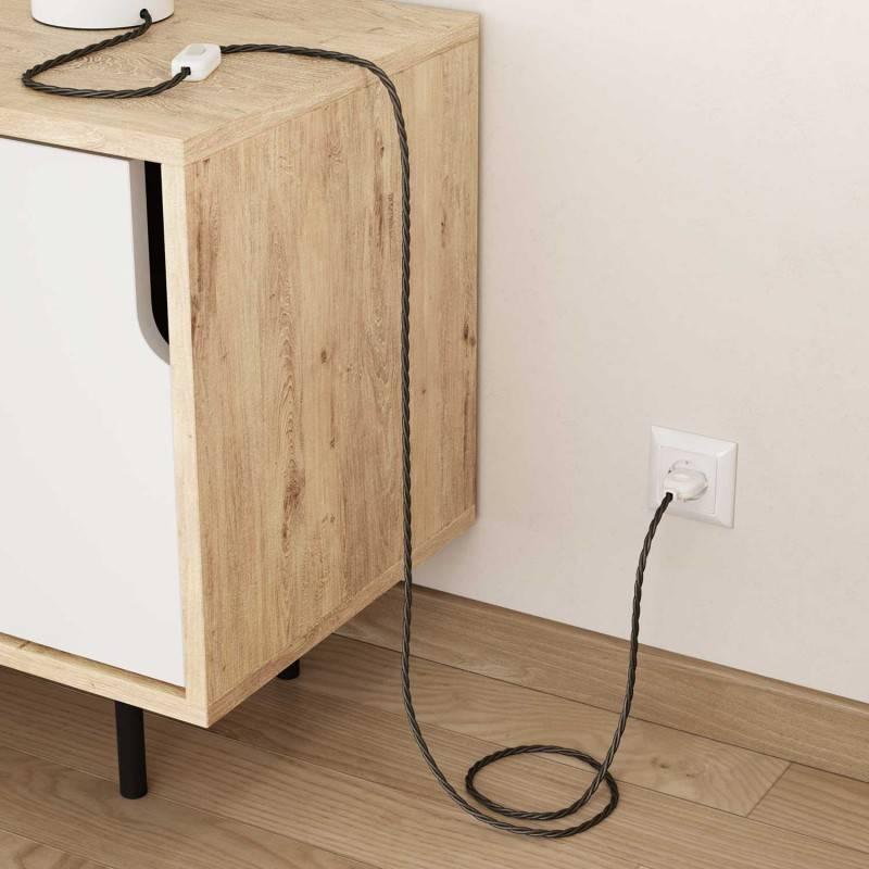 Gevlochten flexibele electriciteit textielkabel van viscose. TM26 - donkergrijs