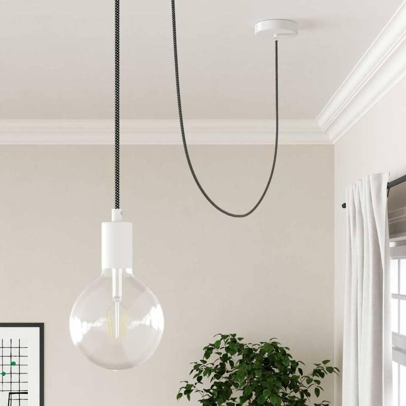 Metalen plafondkap, wit, 120 mm., met een centraal gat en 2 zijgaten + toebehoren