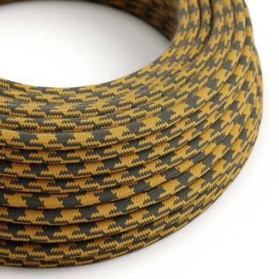 Rond flexibel strijkijzersnoer van katoen, tweekleurig. RP27 - honinggeel en antraciet