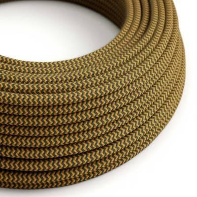 Rond flexibel strijkijzersnoer van katoen, zigzag. RZ27 - honinggeel en antraciet
