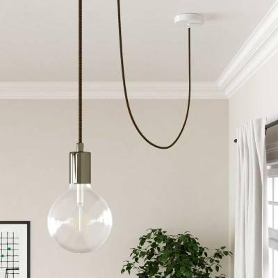 Metalen plafondkap, parelmoer, 120 mm., met 4 zijgaten + toebehoren