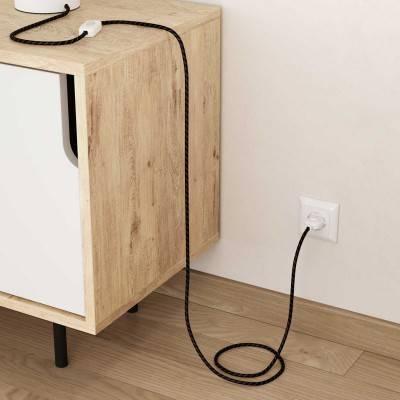 Posaluce, de koper metaal tafellamp voor lampenkap met strijkijzersnoer,schakelaar en platte EU stekker zonder randaarde