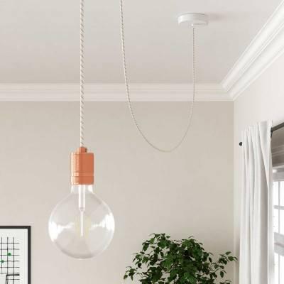 Posaluce, de messing metaal tafellamp voor lampenkap met strijkijzersnoer,schakelaar en platte EU stekker zonder randaarde