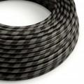 Rond strijkijzersnoer Vertigo HD bedekt met Graphite en Black Wide Stripes textiel ERM54