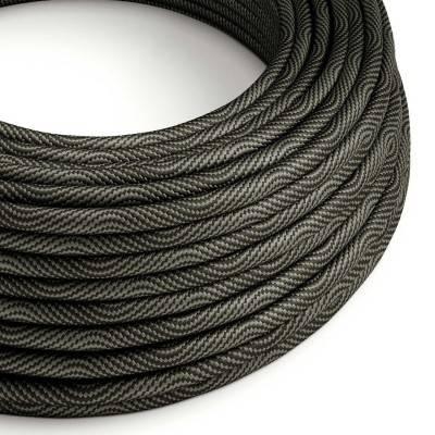 Rond strijkijzersnoer Vertigo HD bedekt met Optical Black en Grey textiel ERM67