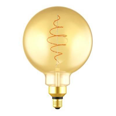 XL Bol G200 LED lichtbron goudkleurige Croissant lijn met spiraal filament 8,5W E27 Dimbaar 2000K