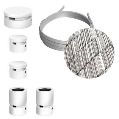 Filé Wiggle kit systeem - met 3 m. prikkabel voor lichtsnoer en 5 componenten van wit gelakt hout voor binnenruimtes.