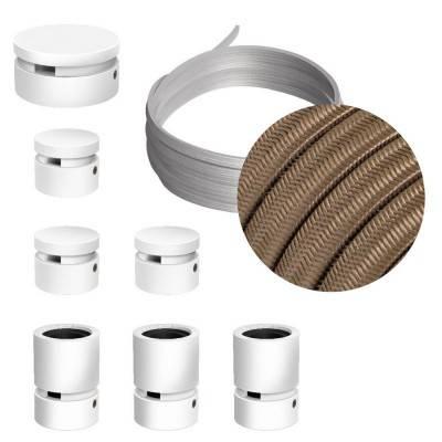 Spostaluce, het vermessingde metalen lichtpunt met E27 schroefdraad fittinghouder, strijkijzersnoer en zijgaten