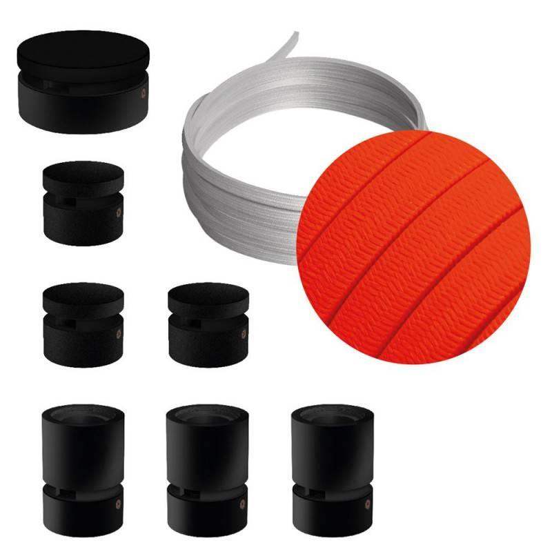 Spostaluce Metallo 90°, het wit metalen verstelbare lichtpunt met E27 schroefdraad fittinghouder, strijkijzersnoer en zijgaten