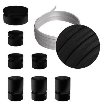 Spostaluce Metallo 90°, het zwart metalen verstelbare lichtpunt met E27 schroefdraad fittinghouder, strijkijzersnoer en zijgaten