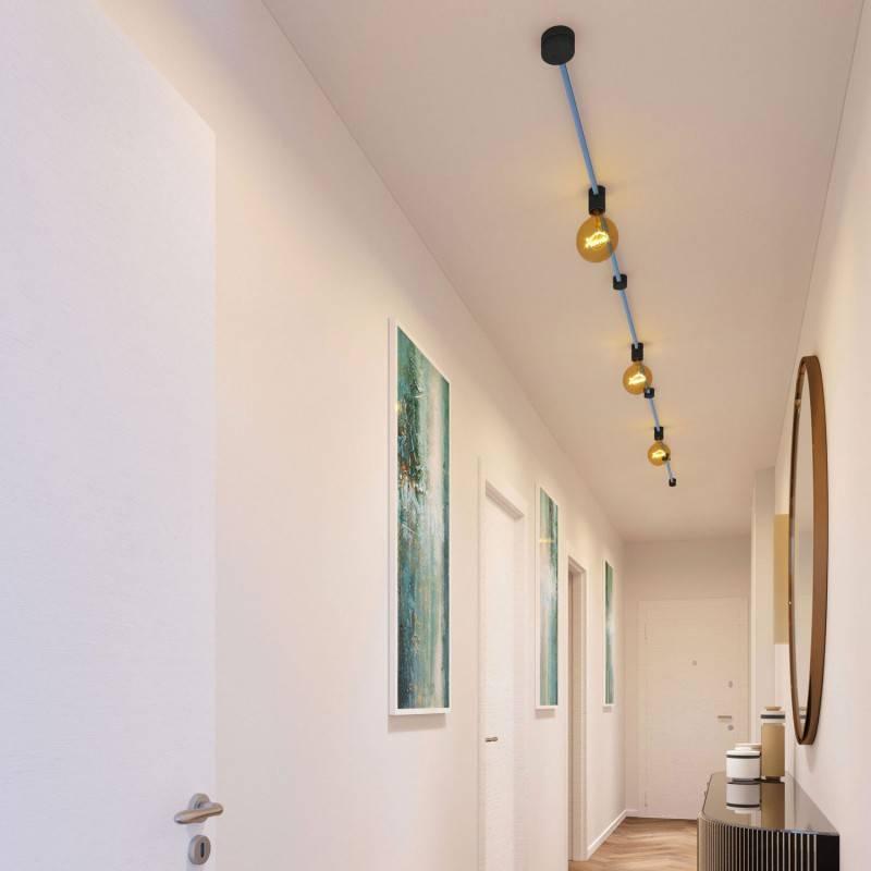 Spostaluce Metallo 90°, het parelmoer verstelbare lichtpunt met E27 schroefdraad fittinghouder, strijkijzersnoer en zijgaten