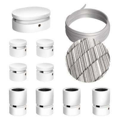 Filé Symmetric kit systeem - met 5 m. prikkabel voor lichtsnoer en 9 componenten van wit gelakt hout voor binnenruimtes.