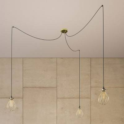 Spider - 3 lichts-meervoudige hanglamp, Made in Italy, compleet met strijkijzersnoer en Druppel-lampenkap