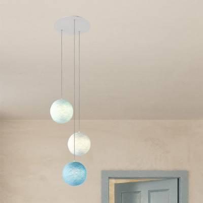 3 lichts-hanglamp voorzien van XXL ronde Rose-One 400 mm compleet met strijkijzersnoer en Sfera XS-lampenkap