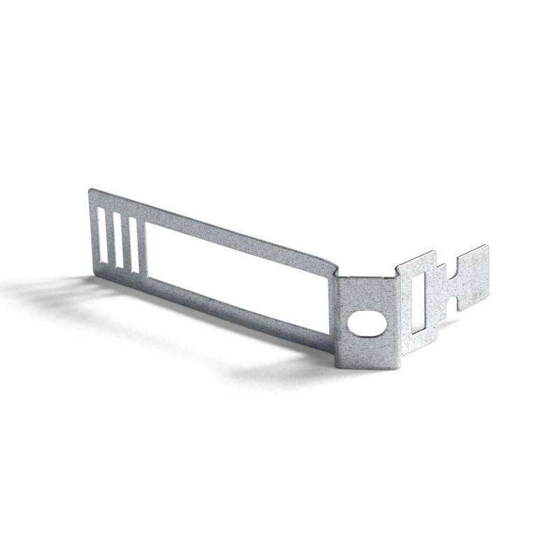 "Fittinghouder E27 van gefreesd aluminium met ""gunmetal"" afwerking en trekontlaster."