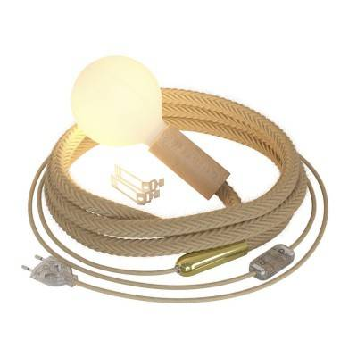 Klaar voor gebruik 7,5 meter lichtsnoer met viscose strijkijzersnoer opaal CH69 incl. 5 fittingen, haak en stekker