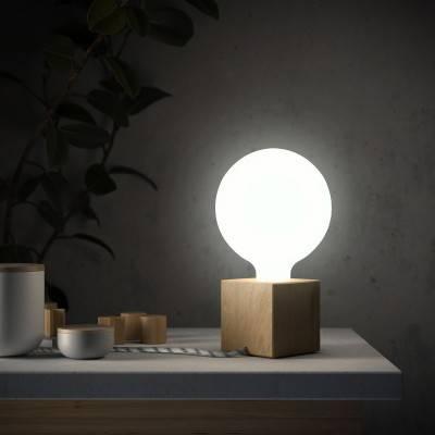 Posaluce Kubus, tafellamp van onbewerkt hout inclusief lichtbron, textielkabel, schakelaar en 2-polige stekker