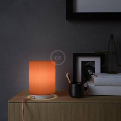 Posaluce Metal met Cilindro lampenkap van kreeftkleurig cinette, inclusief lichtbron textielkabel schakelaar en 2-polige stekker