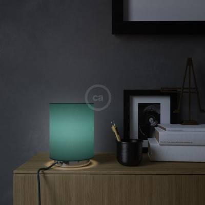 Posaluce Metal met Cilindro lampenkap van petrol cinette, inclusief lichtbron, textielkabel, schakelaar en 2-polige stekker