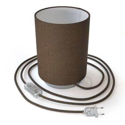 Posaluce Metal met camelot bruine lampenkap Cilindro, inclusief lichtbron, textielkabel, schakelaar en 2-polige stekker