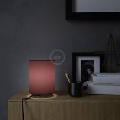 Posaluce Metal met Cilindro lampenkap van bordeaux canvas, inclusief lichtbron, textielkabel, schakelaar en 2-polige stekker