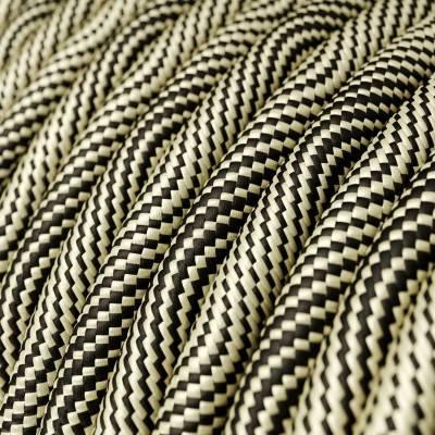 Rond flexibel strijkijzersnoer RD64 - diamant motief decoratie in grof linnen en antraciet katoen