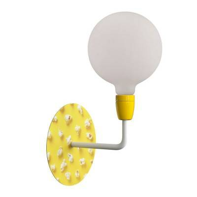 Fermaluce Pop, metaal-porseleinen wandlamp met Rose-One plafondkap en gebogen arm