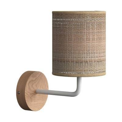 Fermaluce Wood, houten wandlamp met Cilindro-lampenkap en gebogen arm
