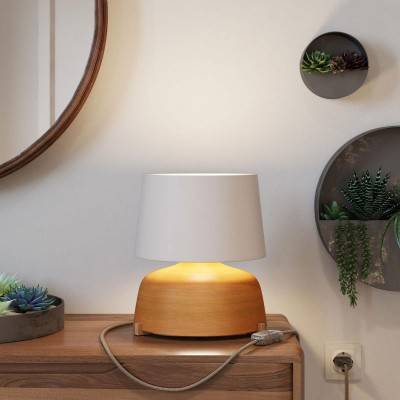 Keramische Grote kop-tafellamp met Athena-kap, met strijkijzersnoer, schakelaar en tweepolige stekker