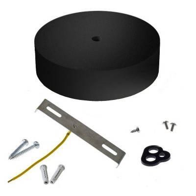 Geborsteld titanium afwerking metaal rond 7 cm. trekontlaster met draadstang, moer en sluitring