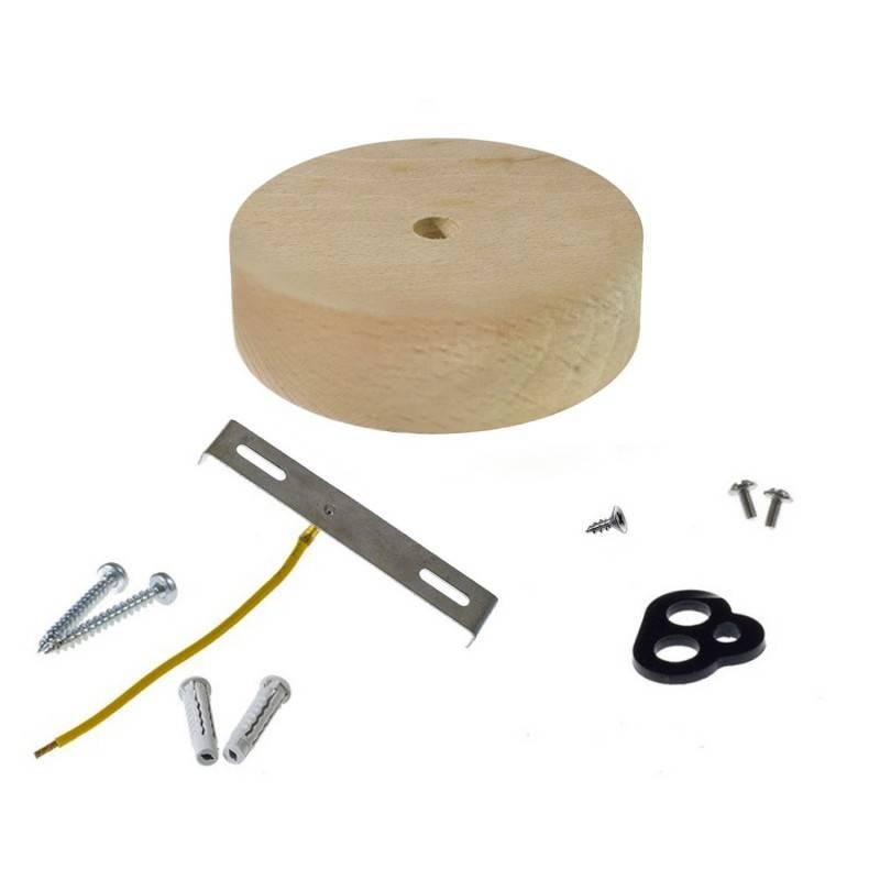 Geborsteld koper afwerking metaal rond 7 cm. trekontlaster met draadstang, moer en sluitring
