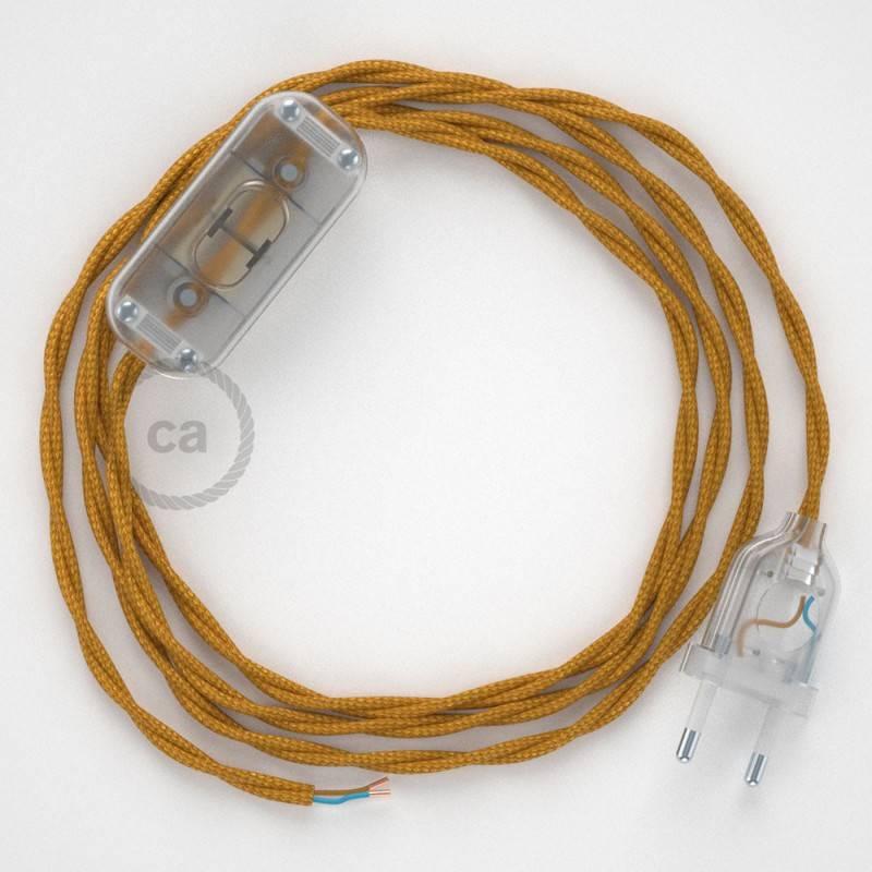 Gevlochten textielkabel van viscose met schakelaar en stekker. TM05 - goud 1,80 m.