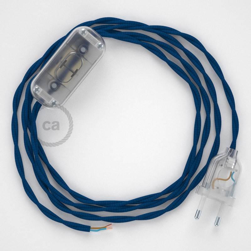 Gevlochten textielkabel van viscose met schakelaar en stekker. TM12 - blauw 1,80 m.