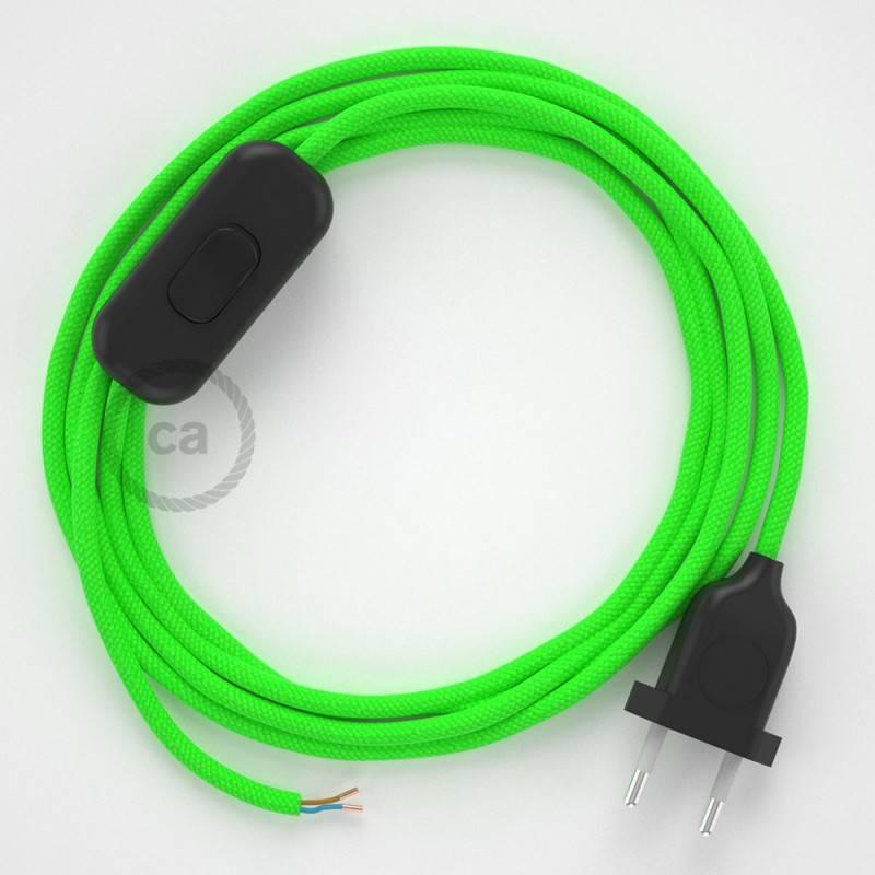 Ronde flexibele textielkabel van viscose met schakelaar en stekker. RF06 - groen fluo 1,80 m.