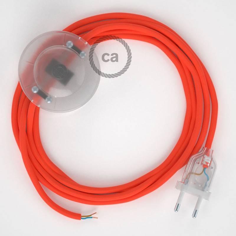 Strijkijzersnoer set RF15 neon oranje viscose 3 m. voor staande lamp met stekker en voetschakelaar.