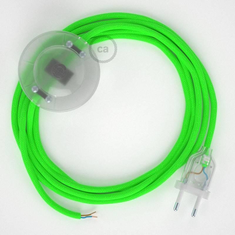 Strijkijzersnoer set RF06 neon groen viscose 3 m. voor staande lamp met stekker en voetschakelaar.